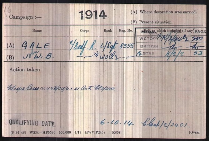 Medal Index Card for John William Beeby Gale