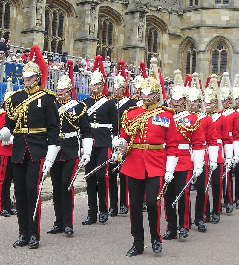 Dismounted members of the Blues and Royals (left) and Life Guards (right), preparing to line the route of the procession to St George's Chapel, Windsor Castle for the annual service of the Order of the Garter (Wikipedia)