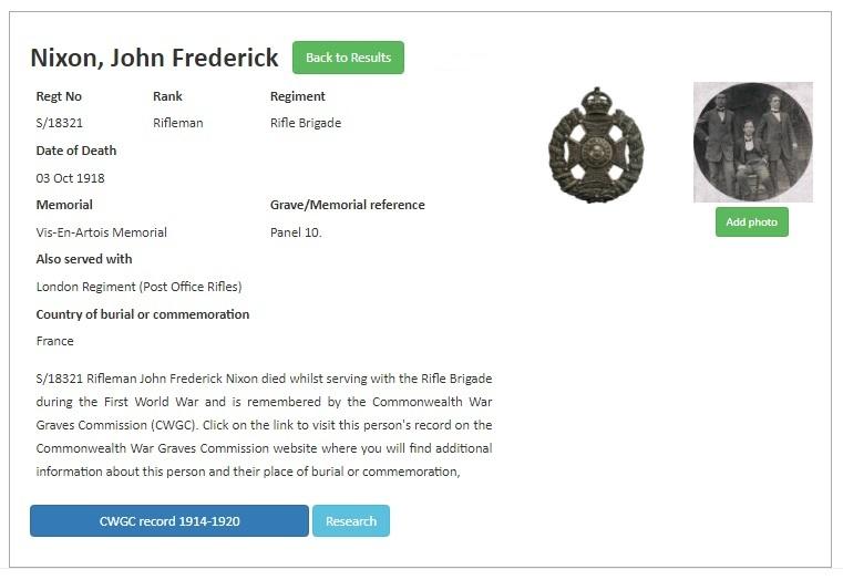 John Frederick Nixon CWGC